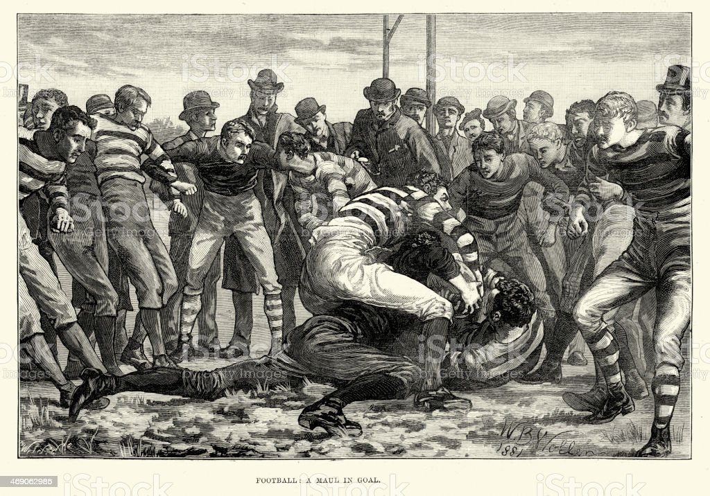 Victorian Rugby Football - Maul in Goal, 1882 vector art illustration