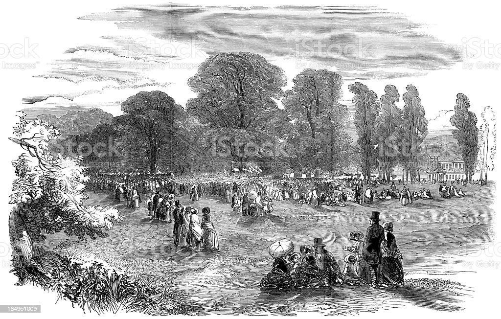 'Victorian rural fete at Ham, South-west London (engraved illustr' vector art illustration