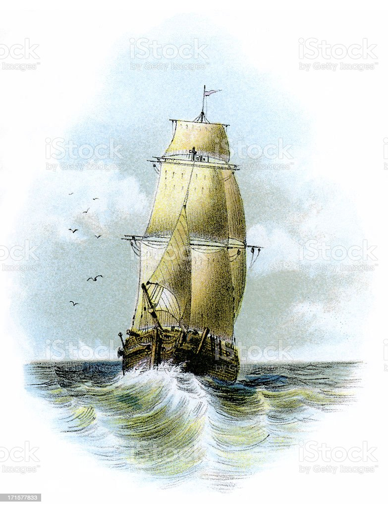Victorian sailing ship at sea vector art illustration