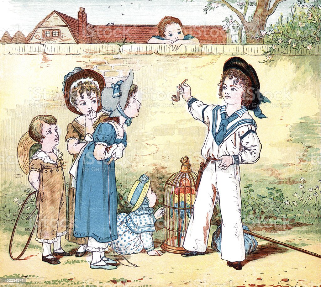 Victorian sailor boy bragging of his exploits vector art illustration