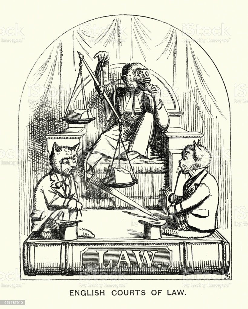 Victorian satirical cartoon about Judges, Lawyers and the Law vector art illustration