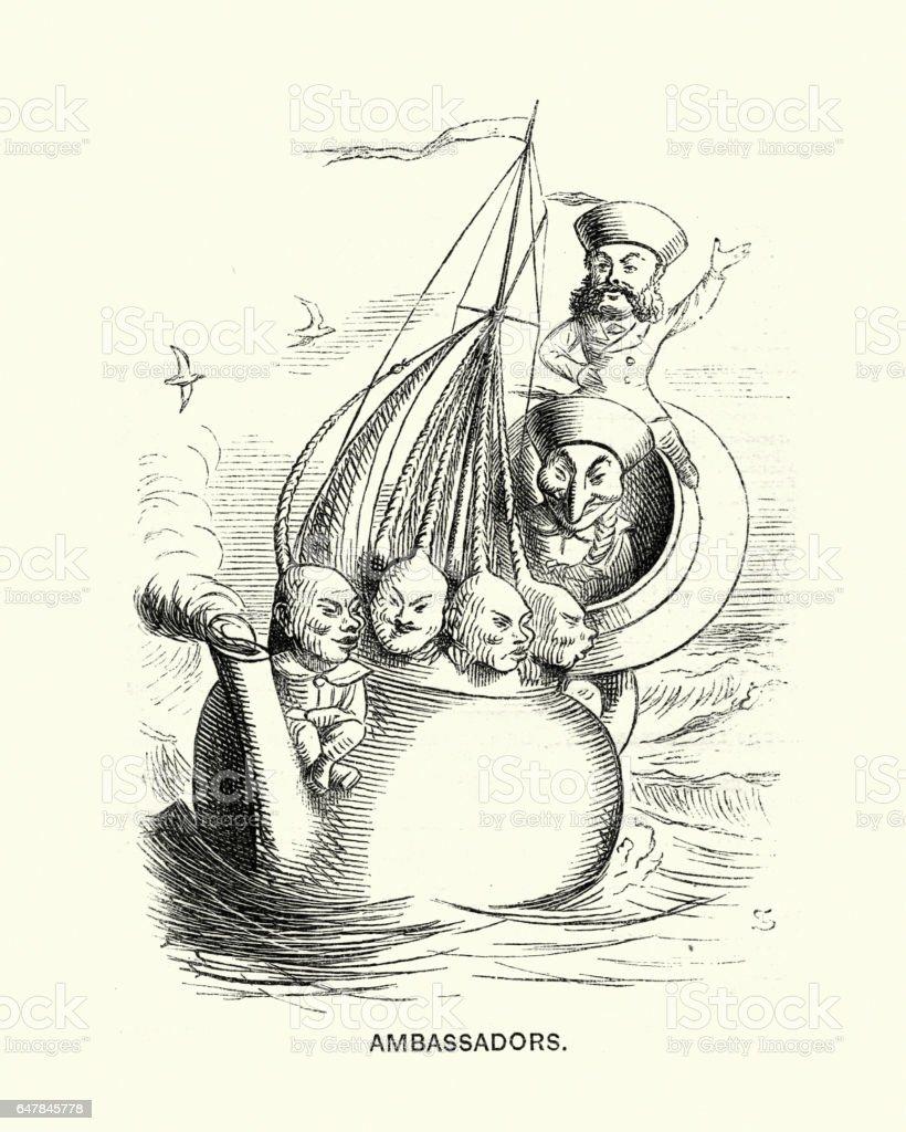 Victorian satirical cartoon about western ambassadors to China, 1869 vector art illustration