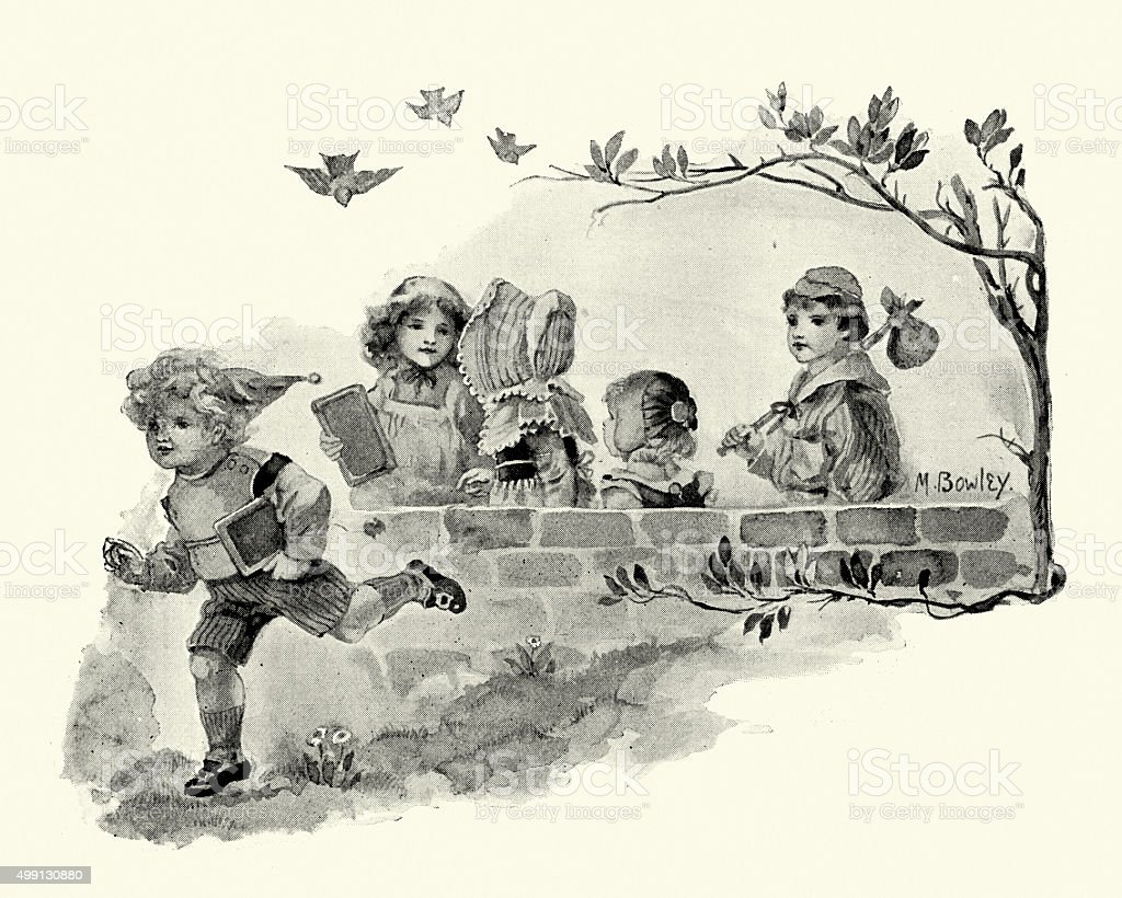 Victorian school children vector art illustration