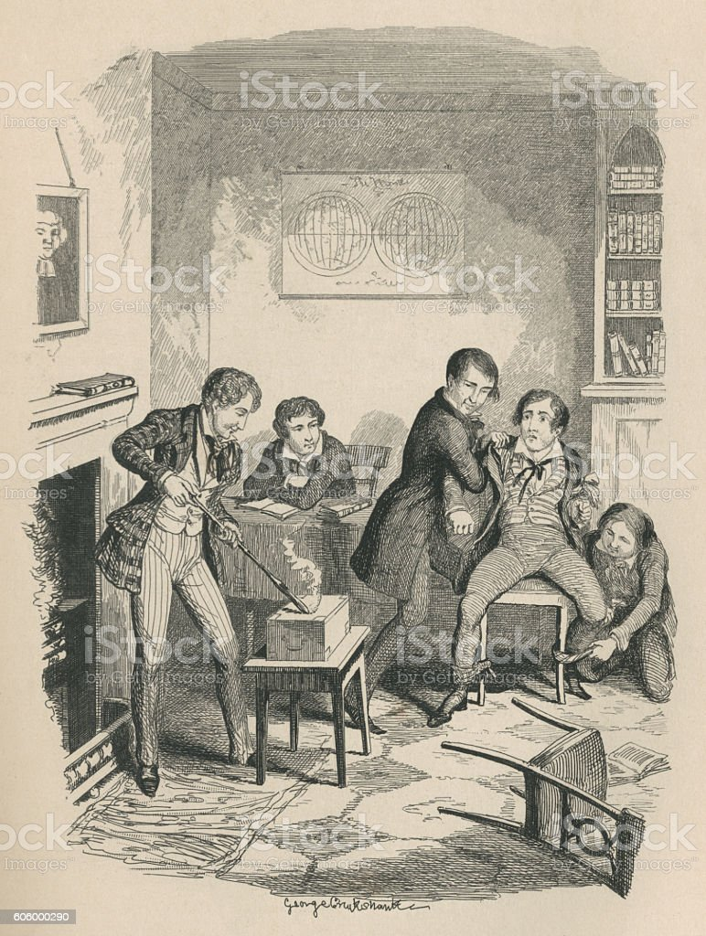 Victorian schoolboy bullies vector art illustration
