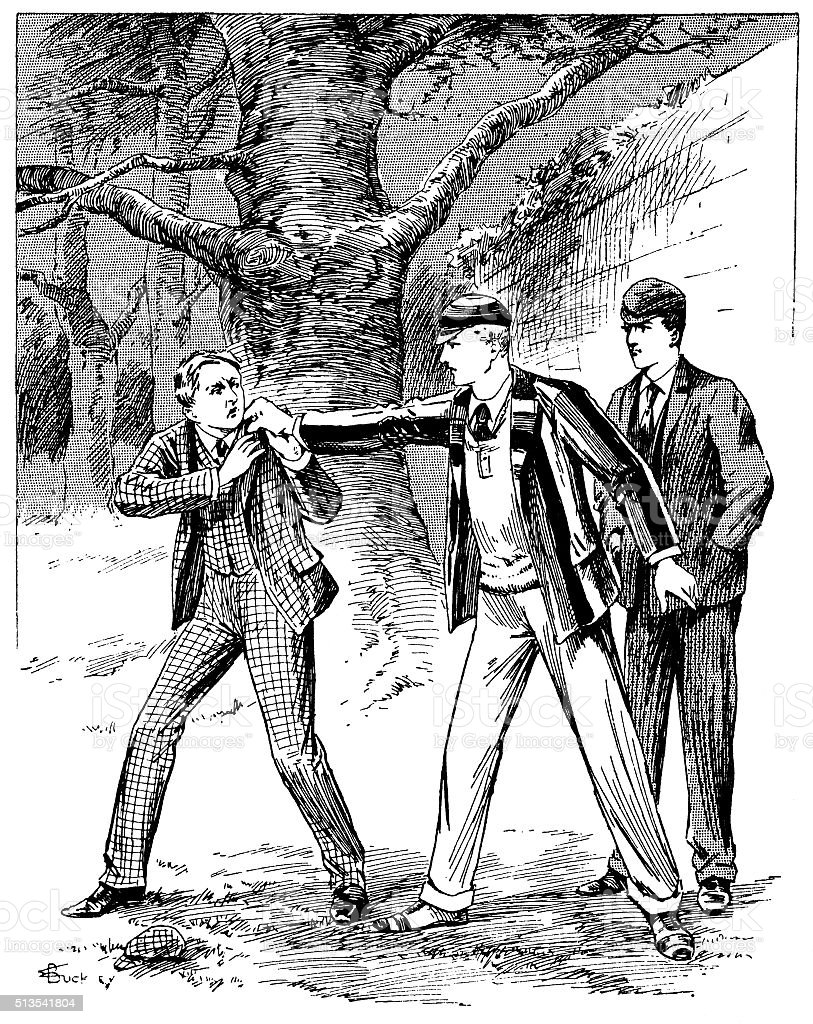Victorian schoolboy having a disagreement with a man vector art illustration