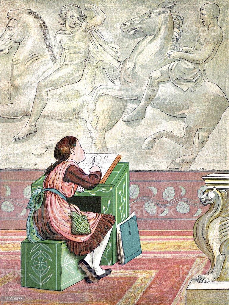 Victorian schoolgirl drawing a Greek frieze vector art illustration