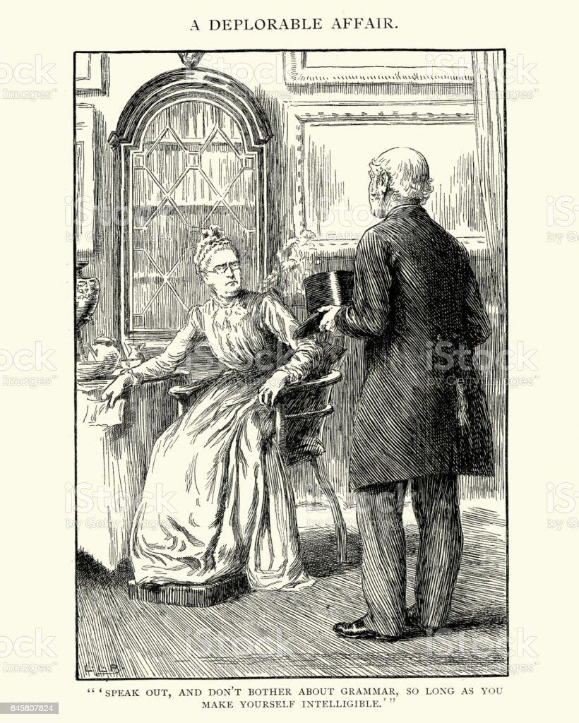 Victorian senior couple arguing vector art illustration