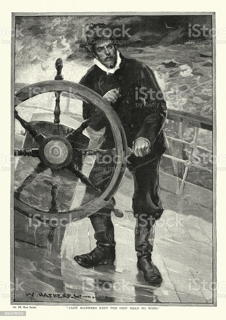 Victorian ship captain at the wheel during a storm vector art illustration
