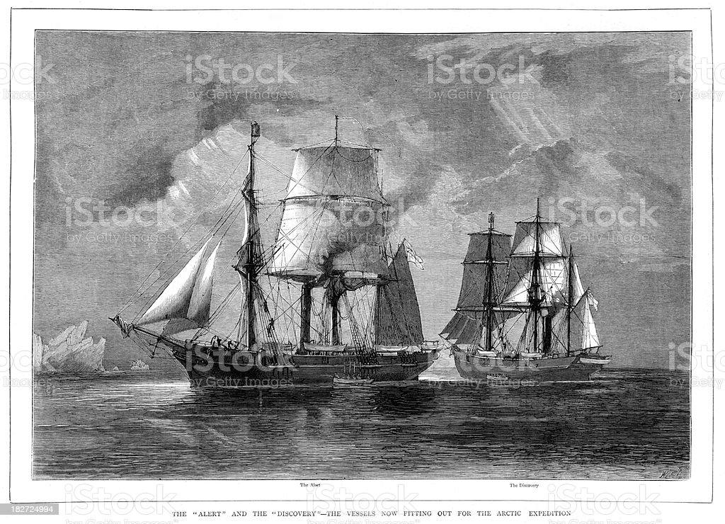 Victorian Ships Artic Expedition vector art illustration