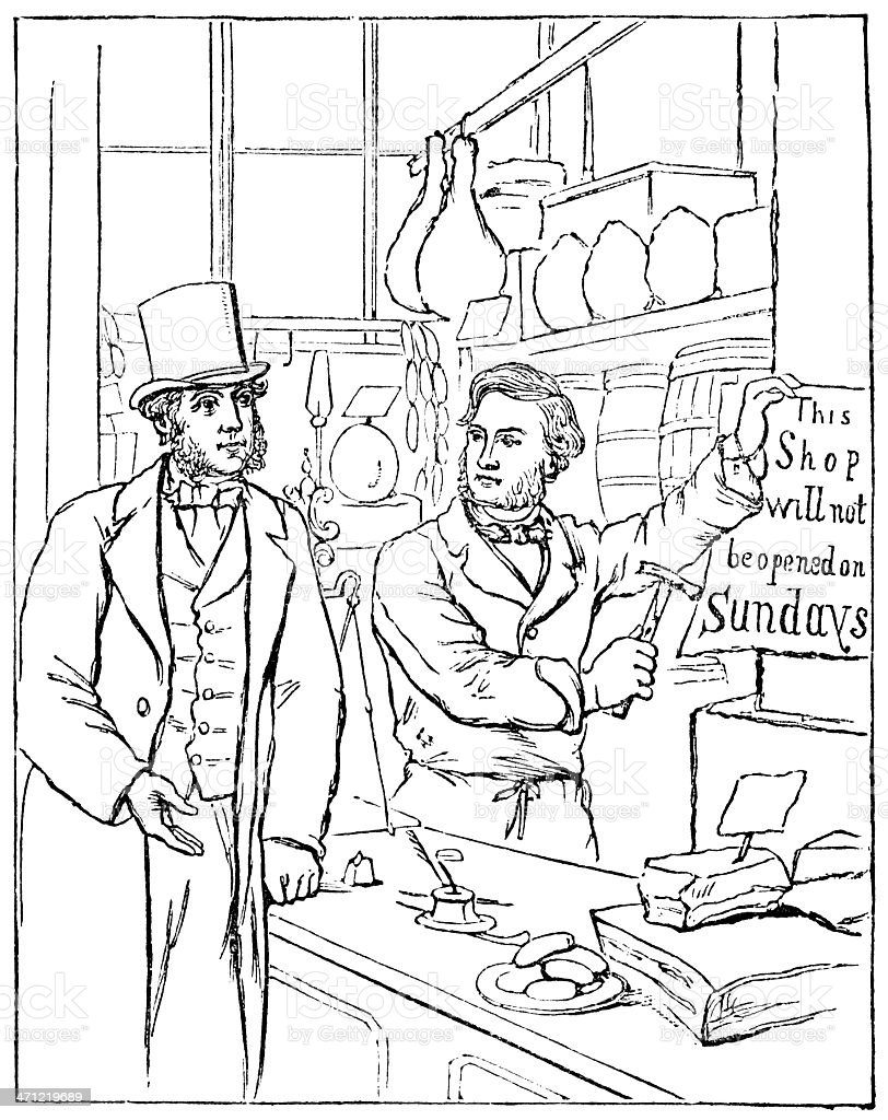 Victorian shopkeeper protesting against Sunday opening royalty-free stock vector art