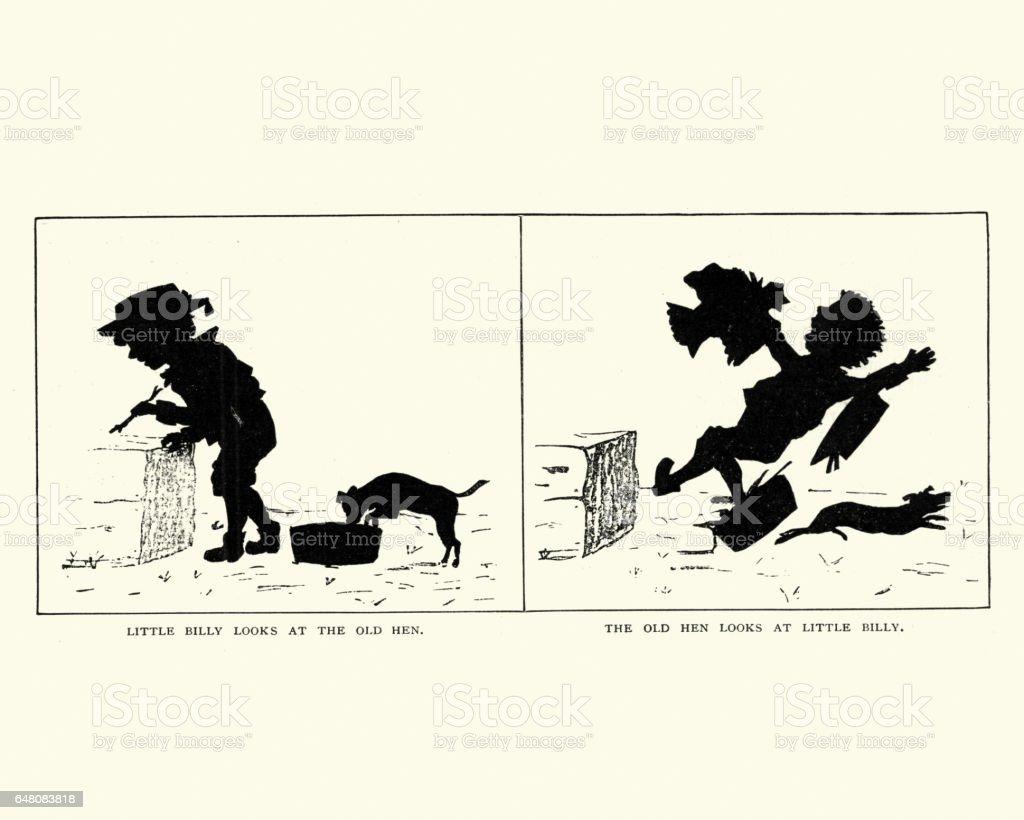 Victorian Silhouette cartoon of a naught little boy vector art illustration