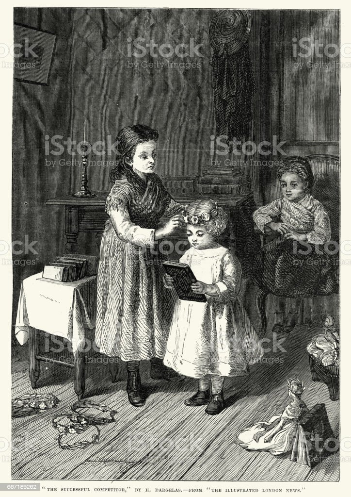 Victorian sisters playing dressing up, 1870 vector art illustration