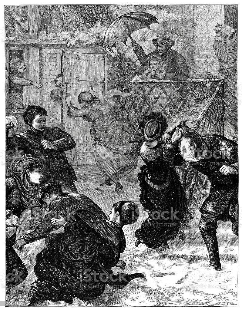 Victorian Snowball Fight vector art illustration