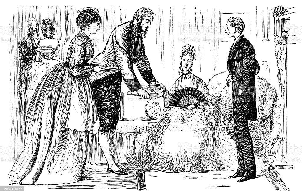 Victorian soiree vector art illustration