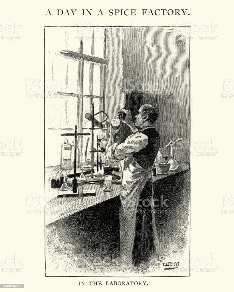 Victorian spice factory, chemist working in laboratory vector art illustration