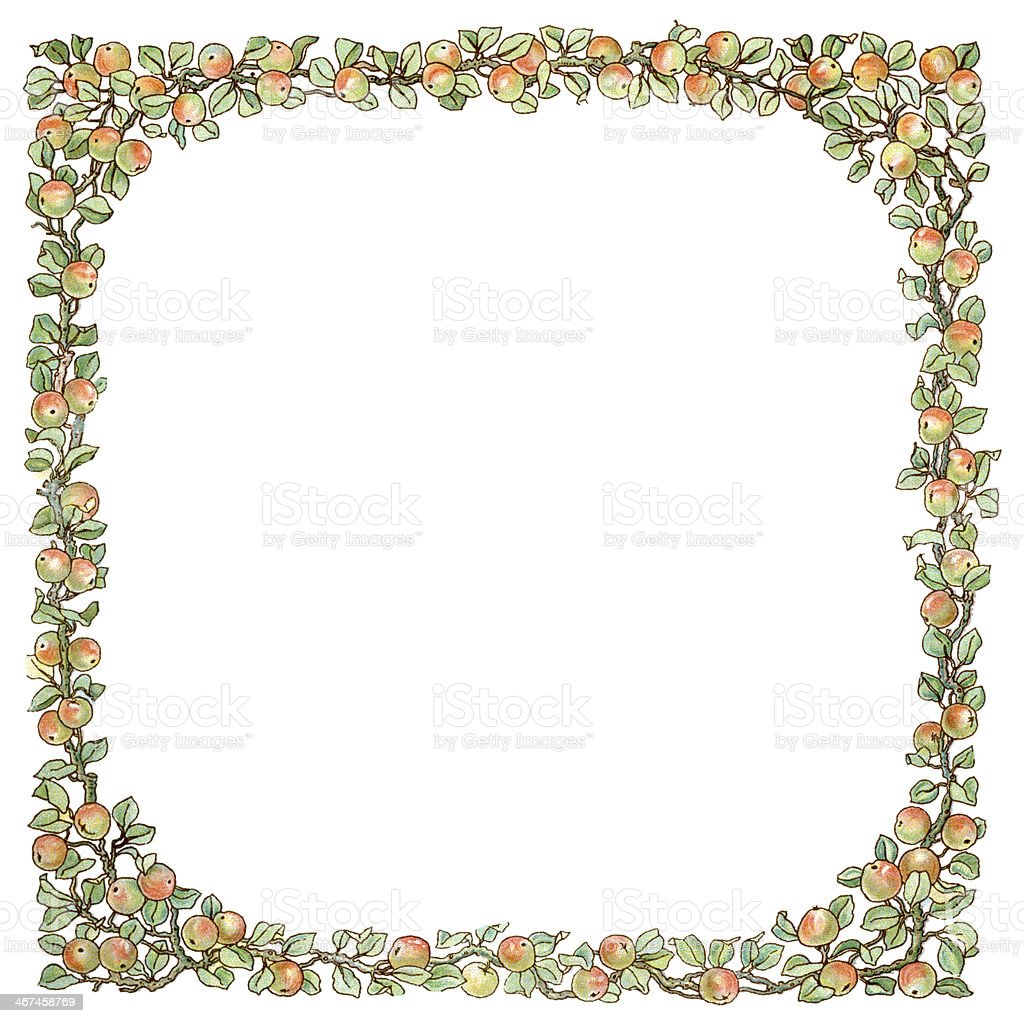 Victorian square frame of apples and leaves vector art illustration