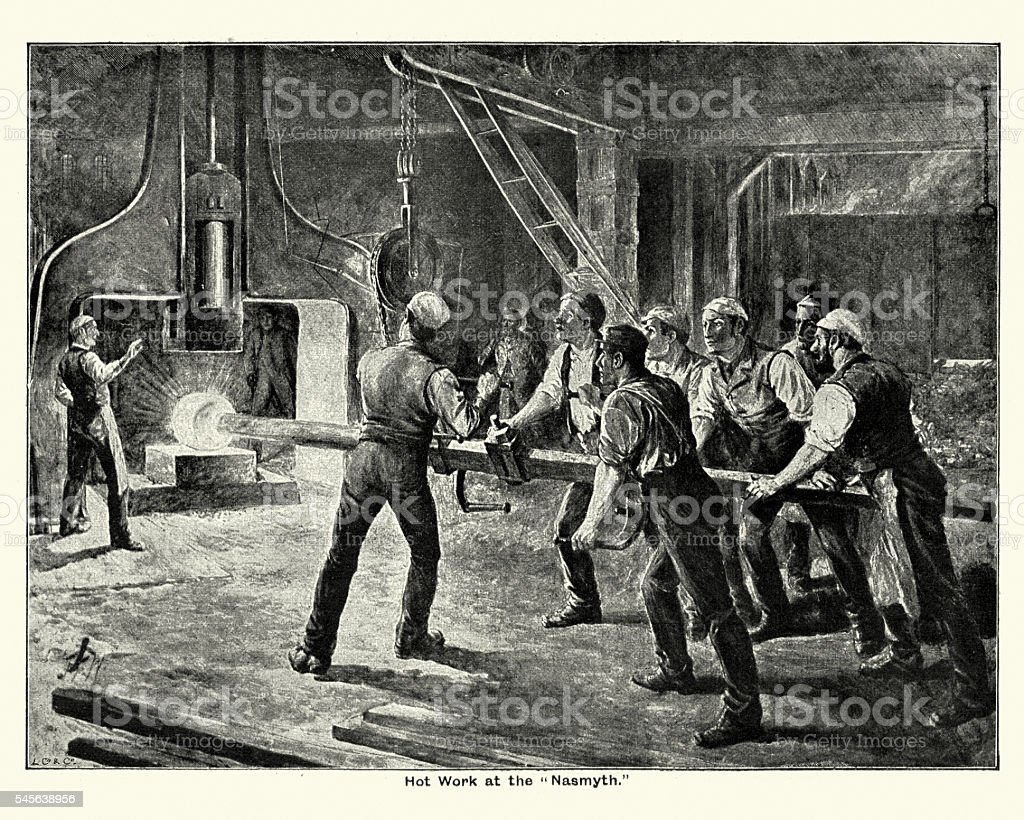 Victorian Steel mill workers using the steam hammer vector art illustration