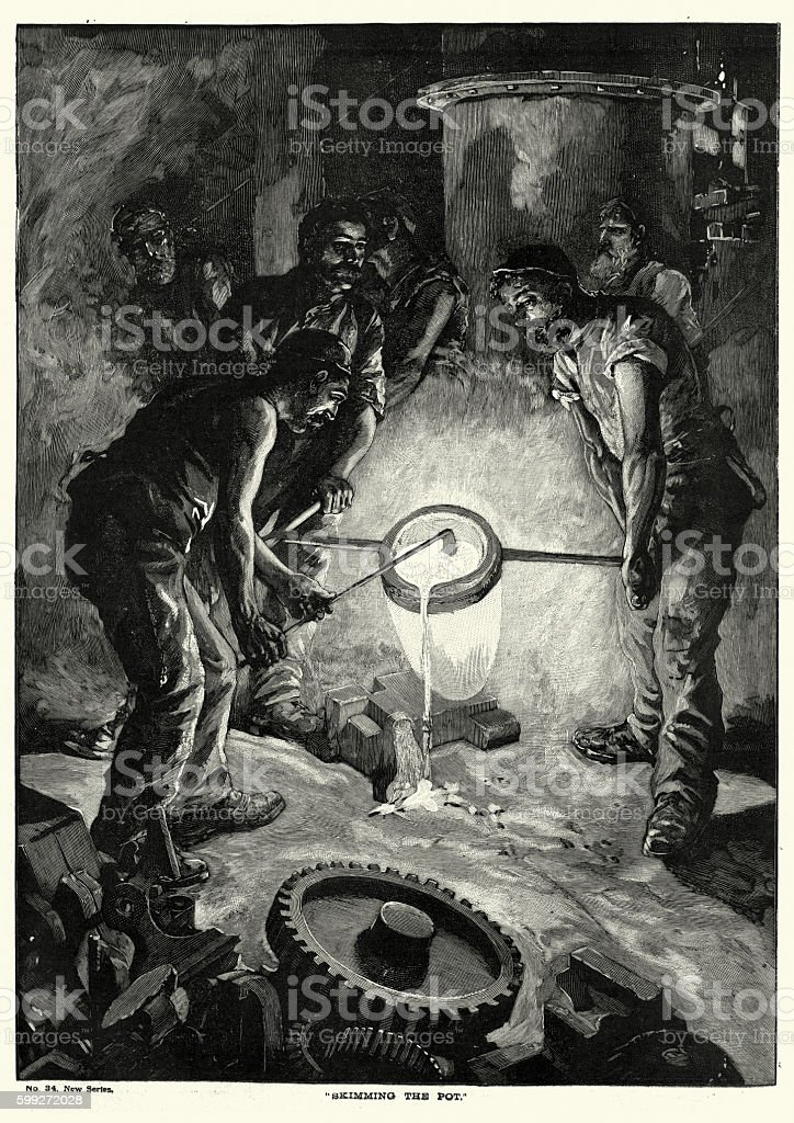 Victorian steel workers skimming the pot vector art illustration