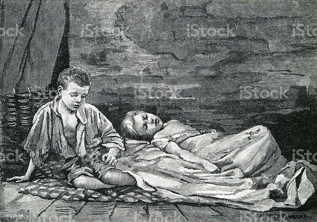 Victorian Street Kids Sleep on the Ground vector art illustration