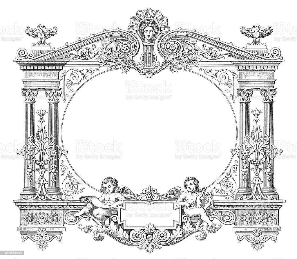 Victorian Style Musical Frame - Antique Engraving (XXXL) royalty-free stock vector art