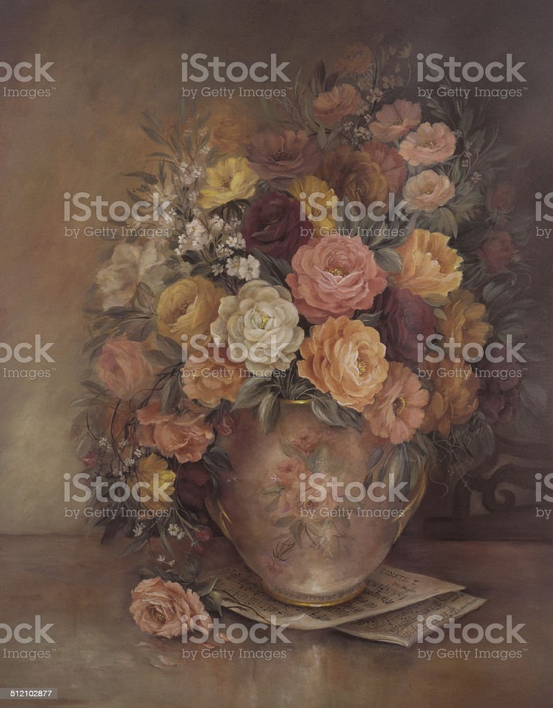 Victorian Style Original Oil Painting Flowers In Vase vector art illustration