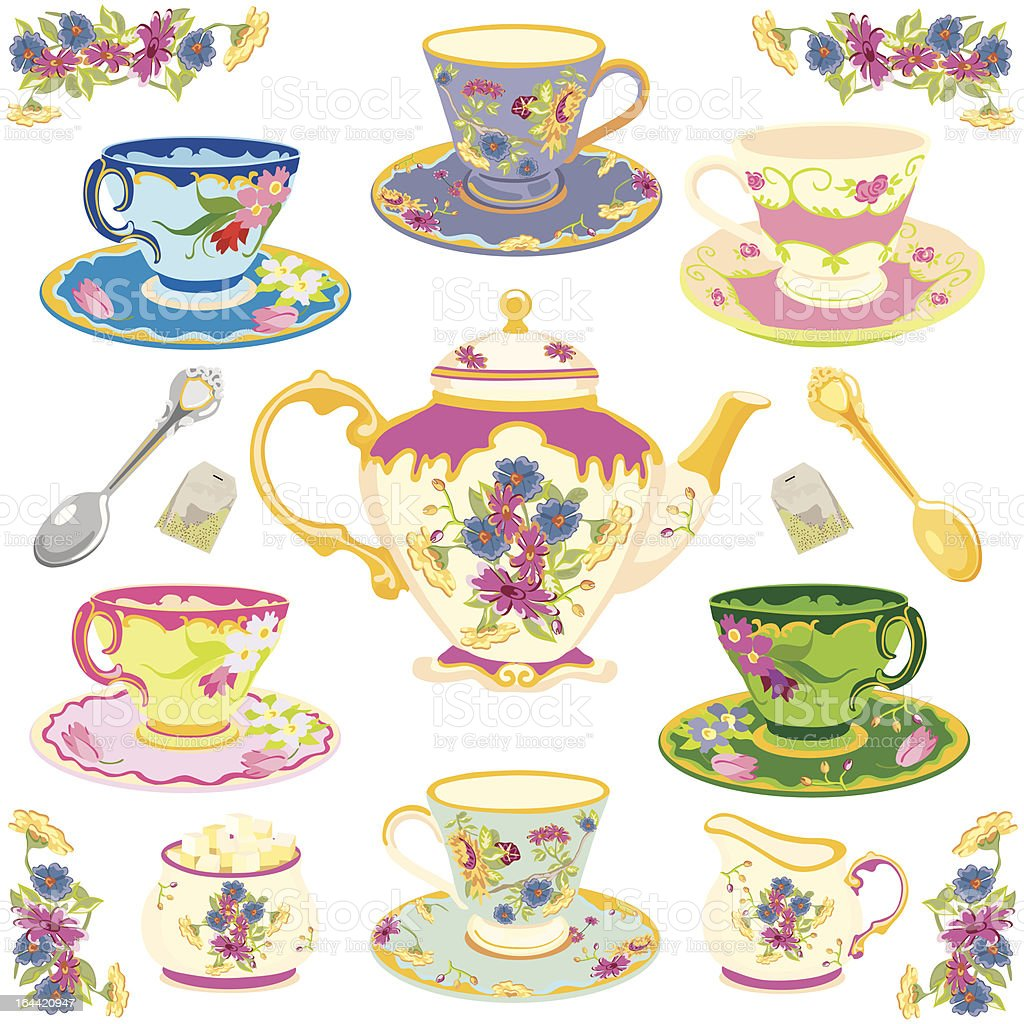 Victorian Tea Set vector art illustration