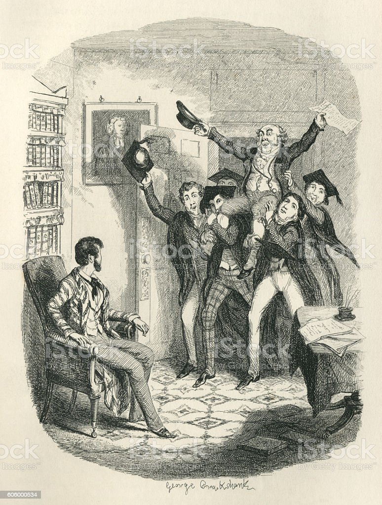 Victorian teachers chairing a colleague vector art illustration