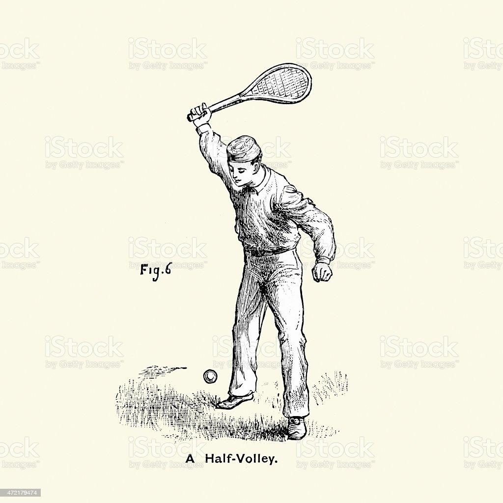 Victorian Tennis Player - A half volley vector art illustration