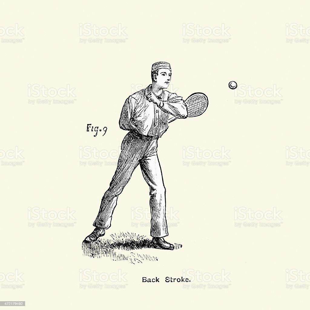 Victorian Tennis Player - Back Stroke vector art illustration