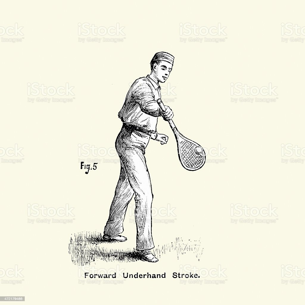 Victorian Tennis Player - Forward Underhand Stroke vector art illustration