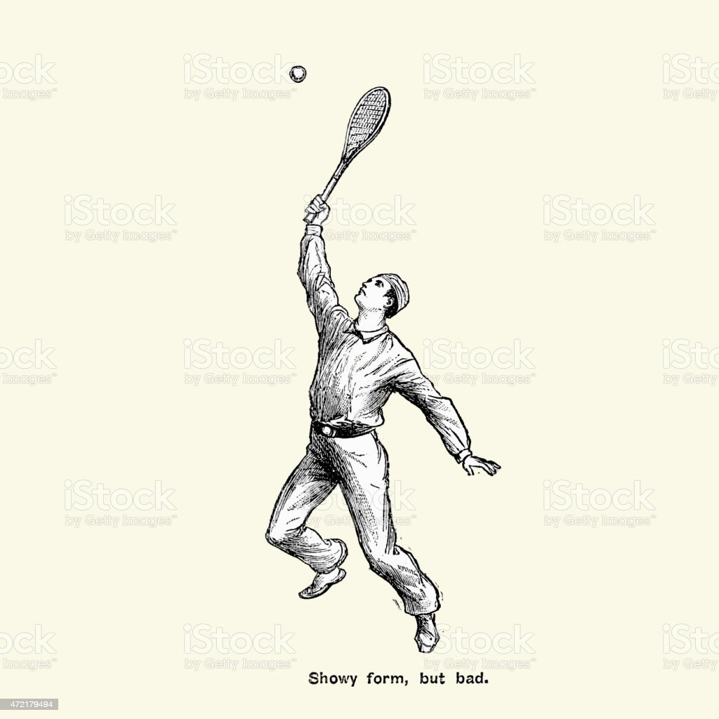 Victorian Tennis Player - Showy form, but bad vector art illustration