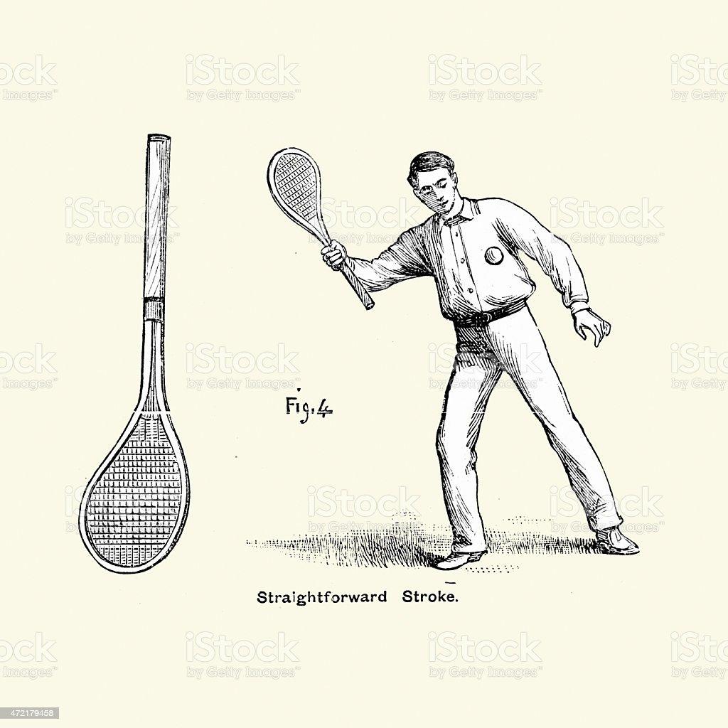 Victorian Tennis Player - Straightforward Stroke vector art illustration