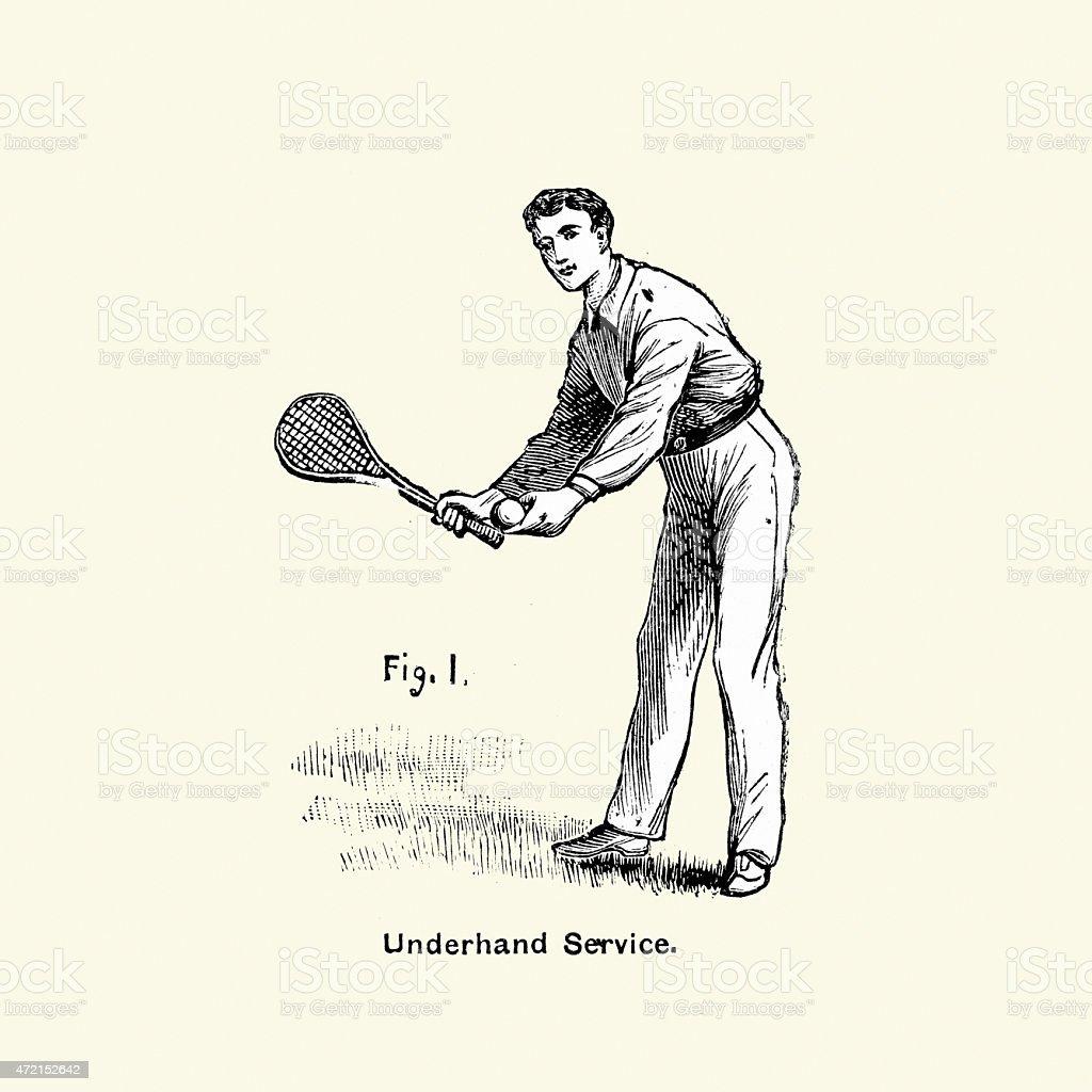 Victorian Tennis Player - Underhand Service vector art illustration