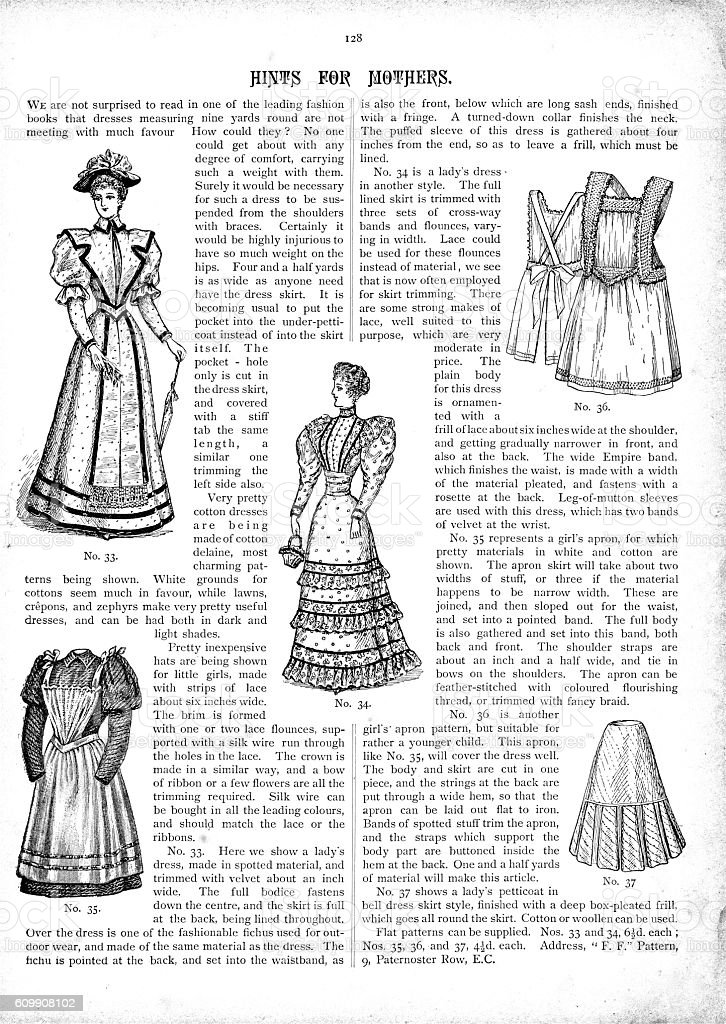 Victorian text and fashion illustrations for 1893 vector art illustration