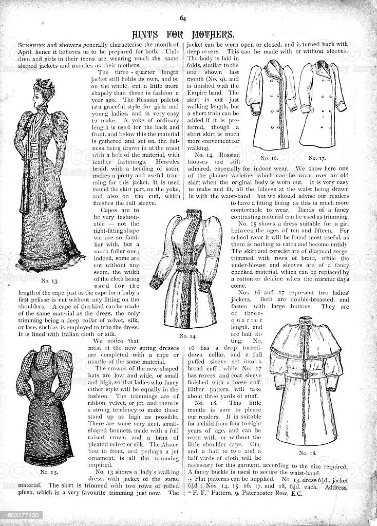 Victorian text and illustrations latest ladies fashions for April 1893 vector art illustration