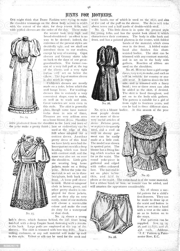 Victorian text, illustrations and tips for fashions for 1893 vector art illustration