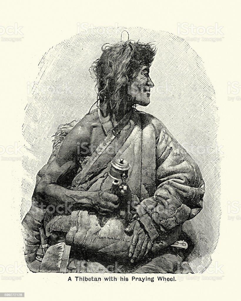 Victorian Thibetan Monk with his Praying Wheel vector art illustration