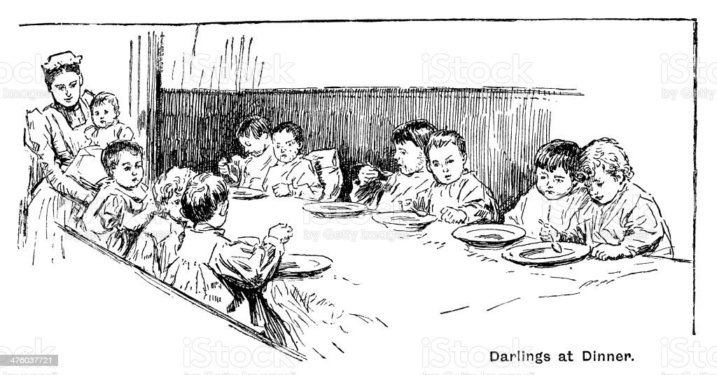 Victorian toddlers eating a nursery meal vector art illustration