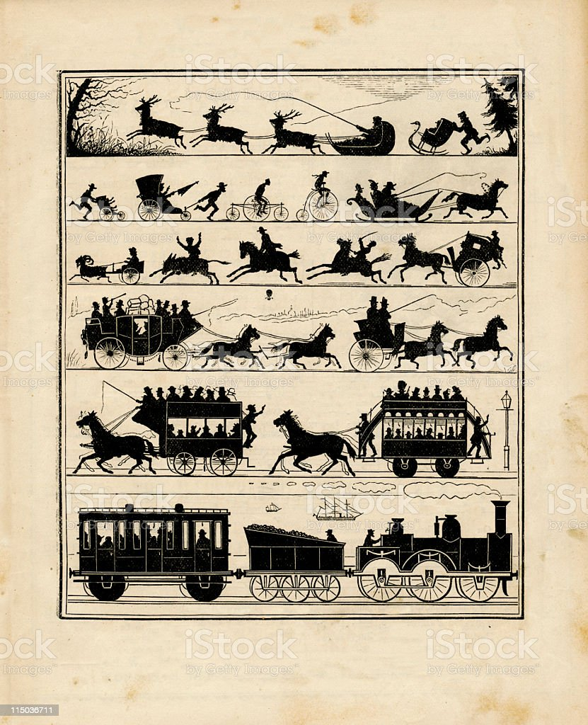 Victorian Transportation Silhouettes royalty-free stock vector art