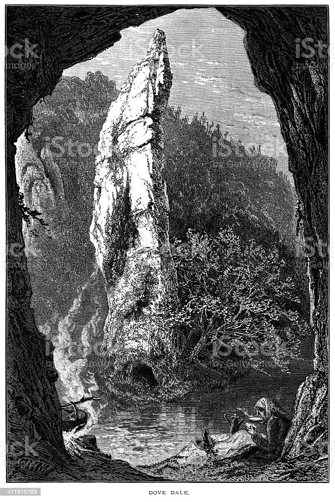 Victorian traveller in Dove Dale, Derbyshire royalty-free stock vector art