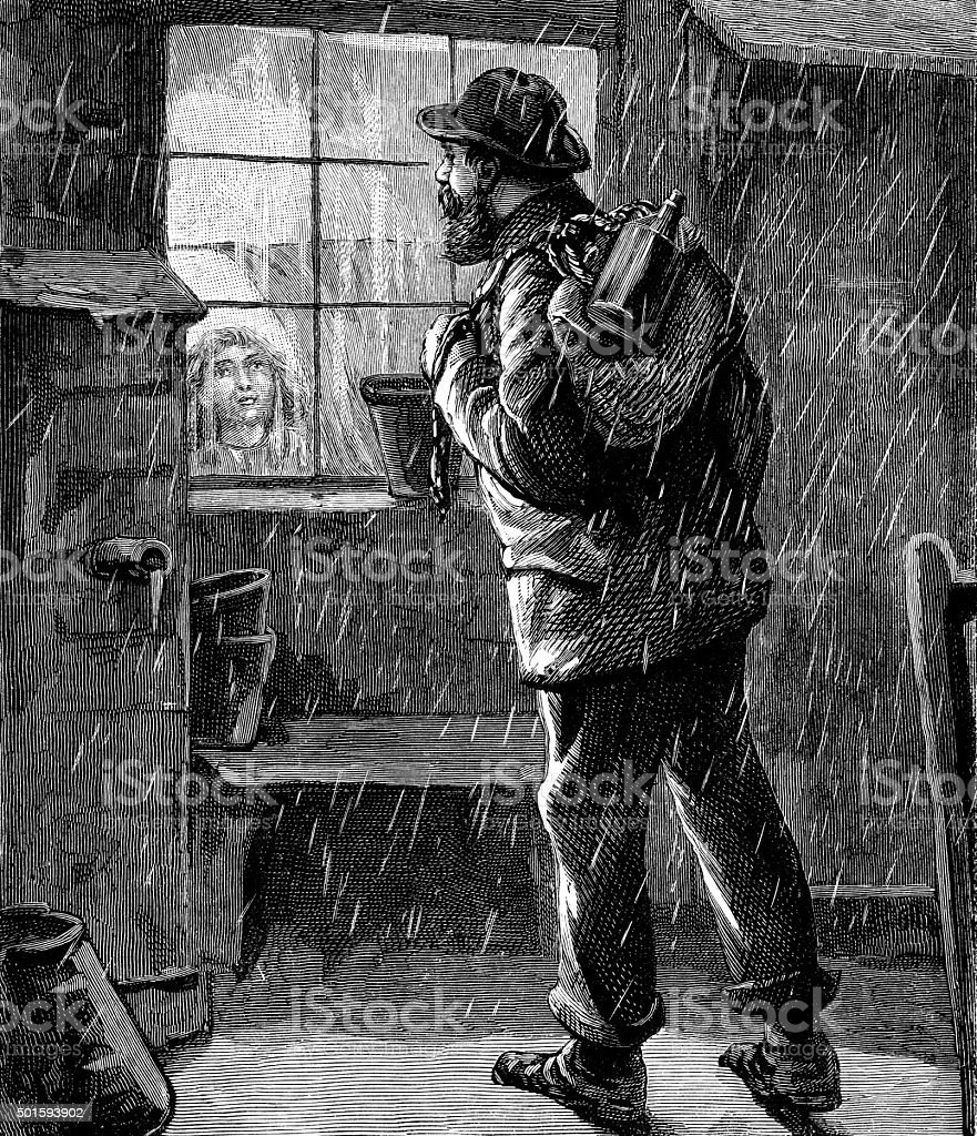 Victorian traveller looking into a house window vector art illustration
