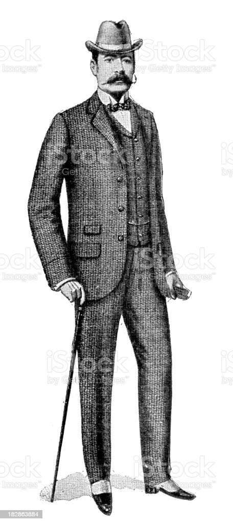 Victorian Tweed Suit vector art illustration