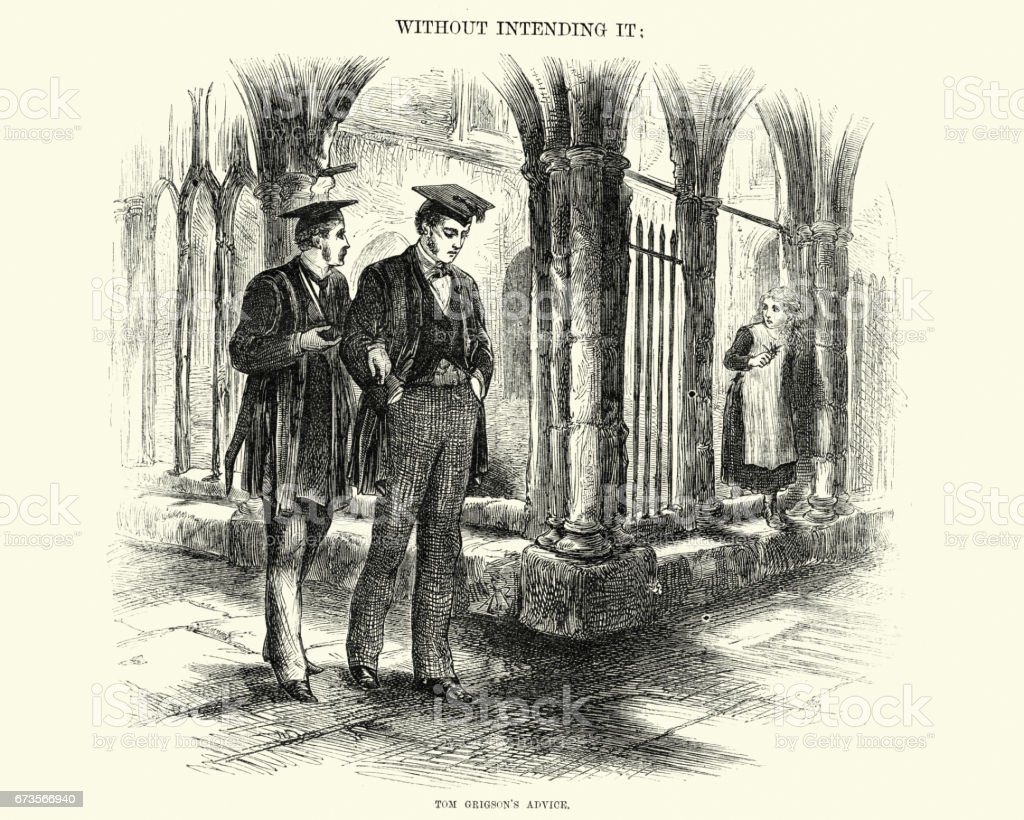 Victorian university students, 19th Century vector art illustration