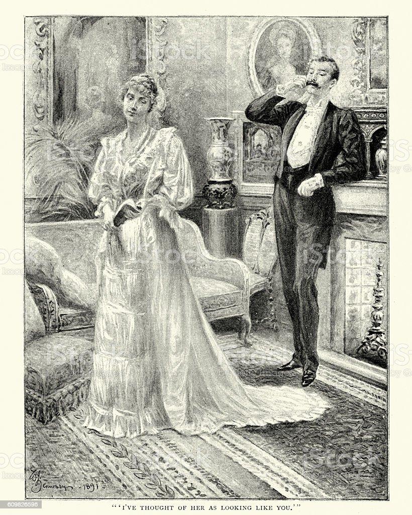 Victorian upper class couple vector art illustration