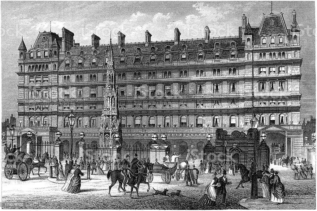 'Victorian view of Charing Cross Railway Station, London (illustr' vector art illustration