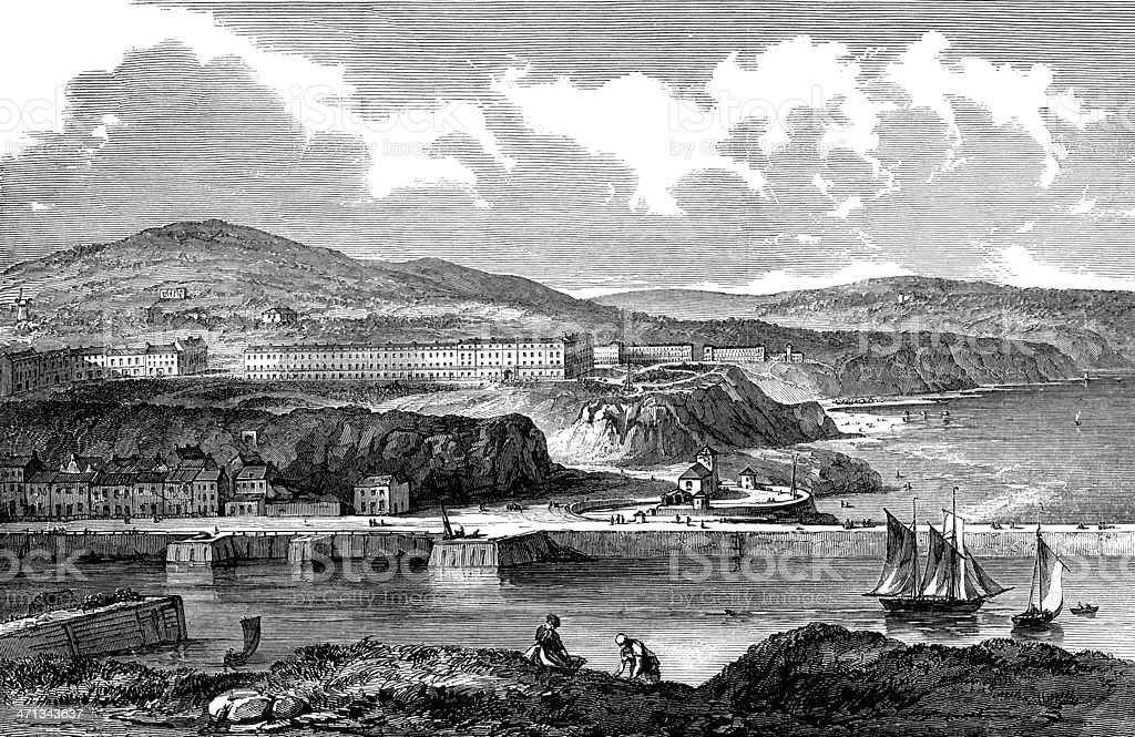 Victorian view of Whitby, North Yorkshire, England (engraved illustration) royalty-free stock vector art