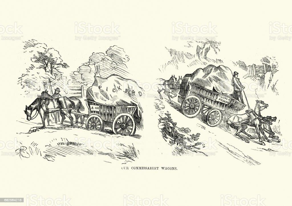 Victorian Wagon transporting goods, 19th Century vector art illustration