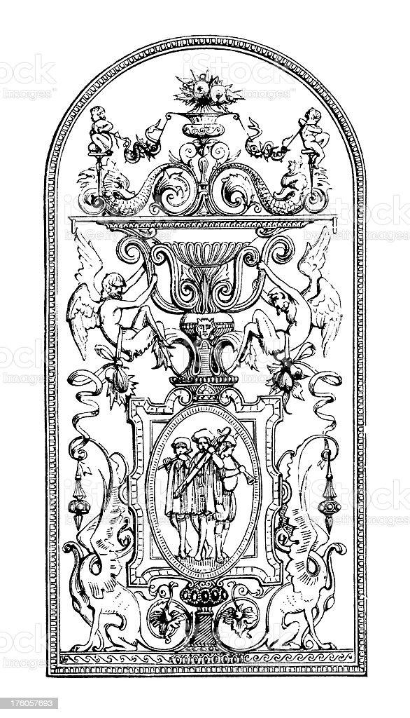 Victorian Wall Panel   Antique Design Illustrations royalty-free stock vector art