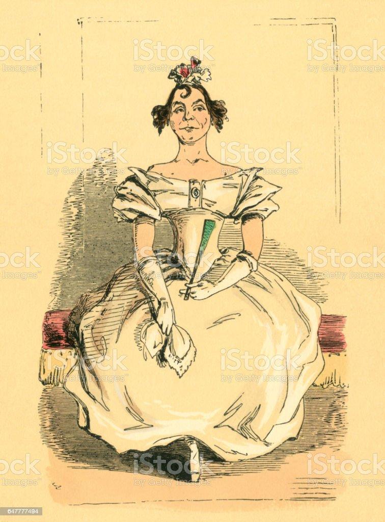 Victorian wallflower hoping for a dance partner vector art illustration