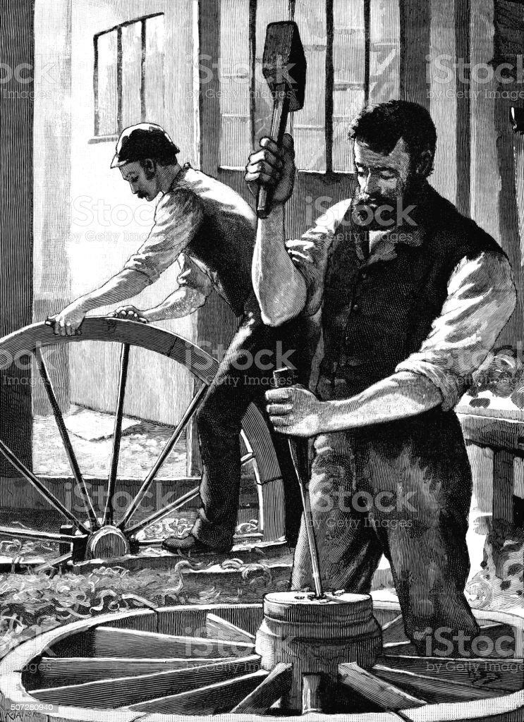 Victorian wheelwrights at work vector art illustration
